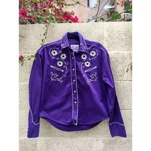 Vintage Purple Embroidered Western Style Button-Up